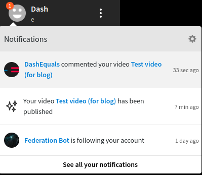 You receive notifications for comments, likes, subscribes, etc