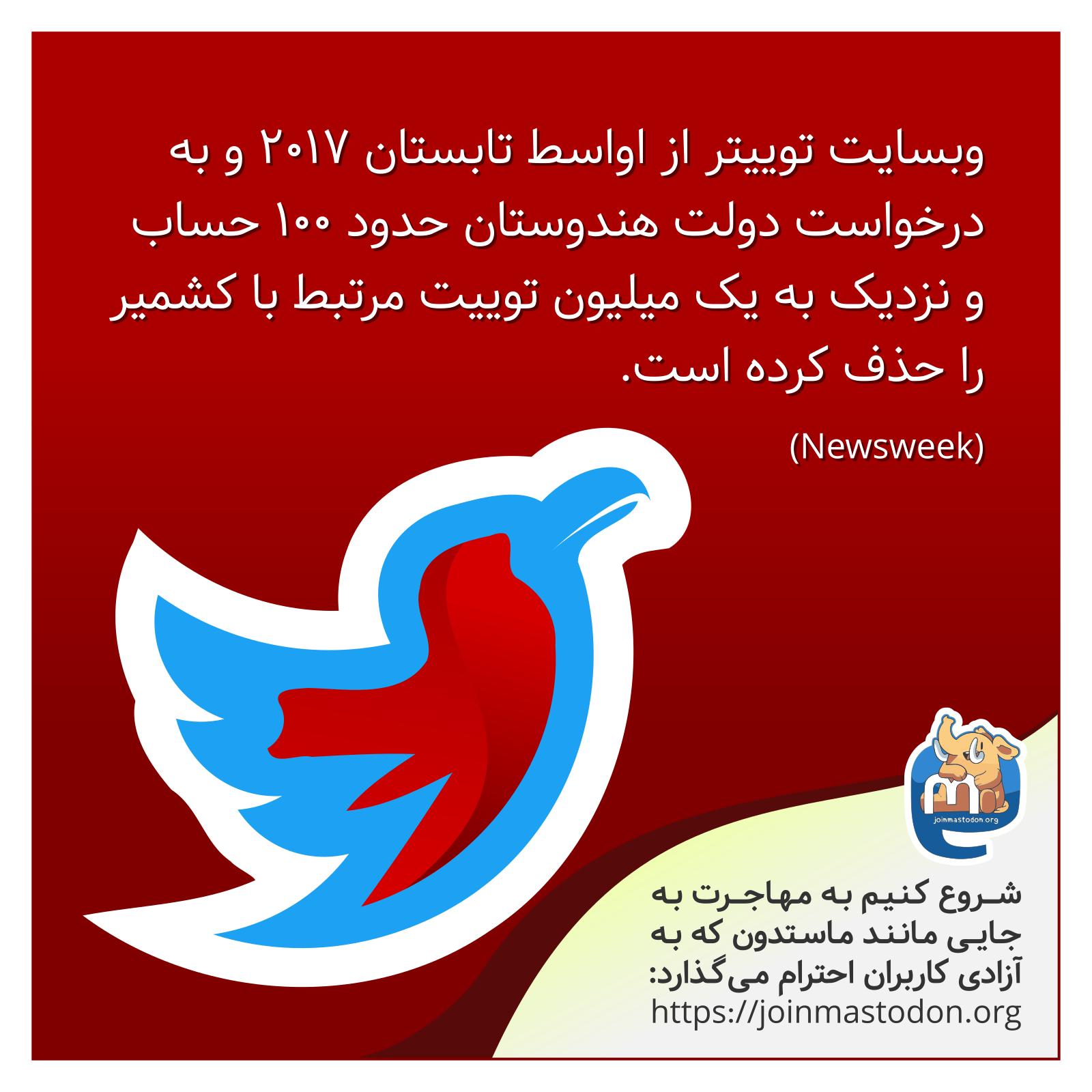 حذف حساب و محتوای مرتبط با کشمیر از توییتر