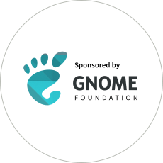 """Sponsored by GNOME Foundation"" badge"