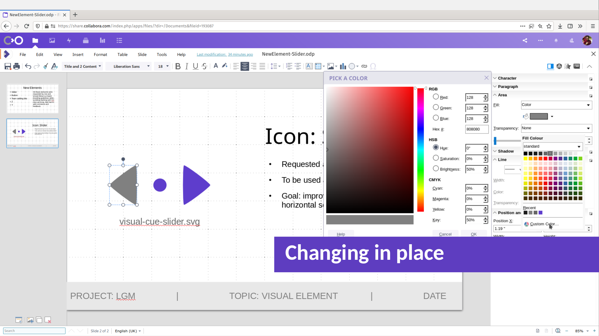LGM2020 slide: changing color of a vector element using Collabora Online