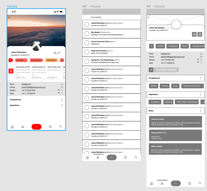 Figma Wireframes showing my profile page