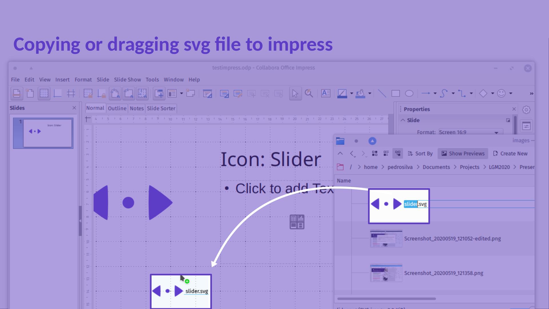 LGM2020 slide: drag n drop an SVG to Impress