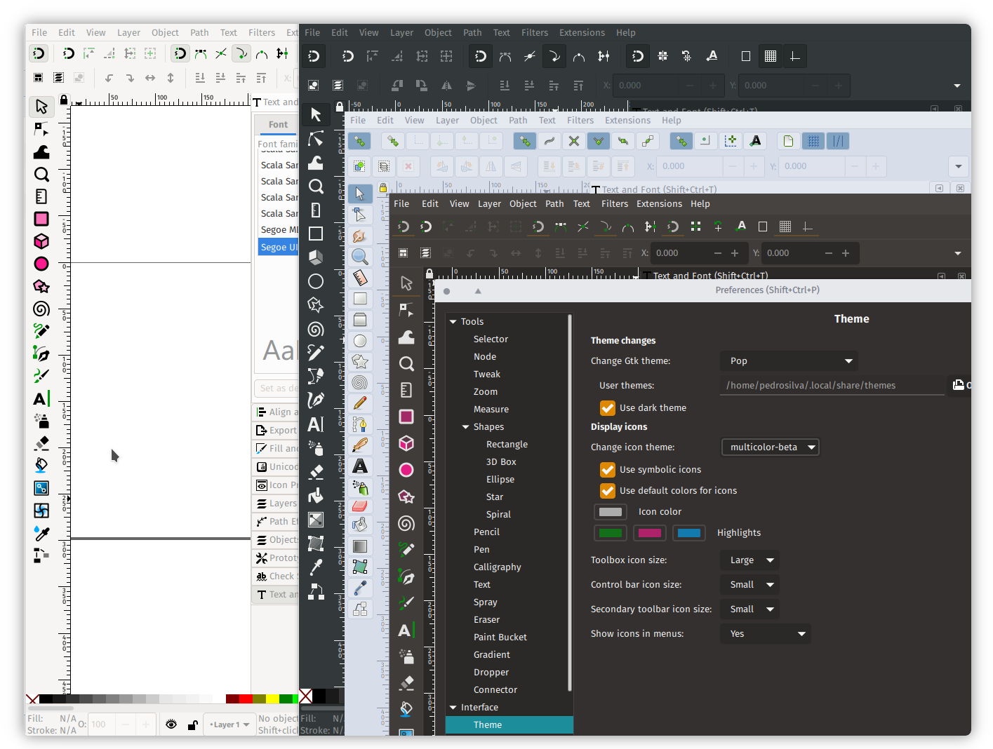 Inkscape 1.0 Beta theming