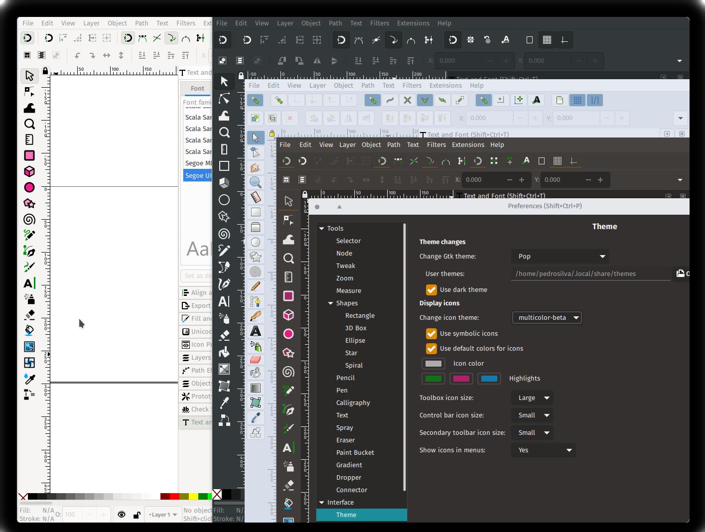 Inkscape 1.0 Beta theming