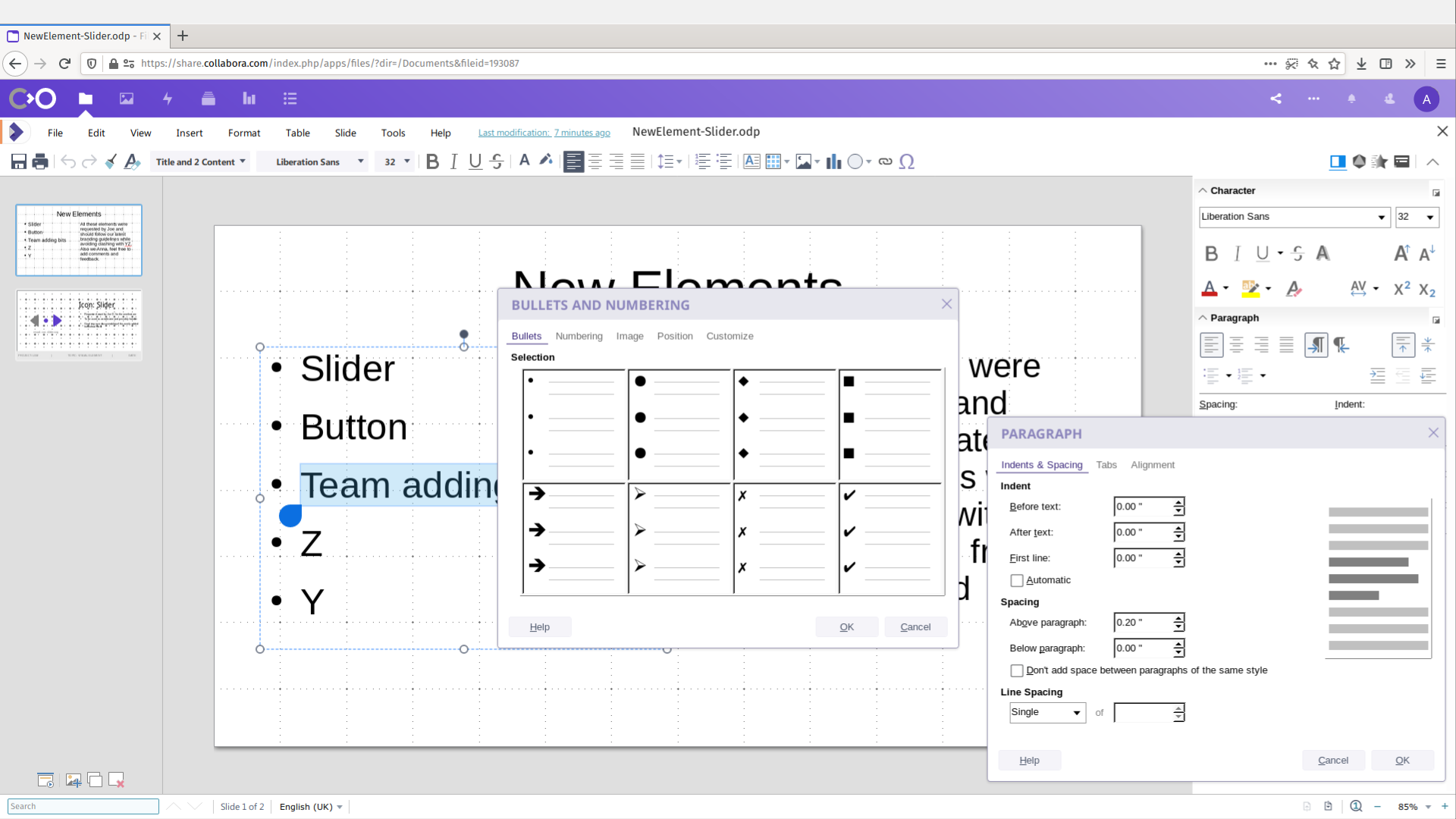 LGM2020 slide: Collabora Online DTP advanced features