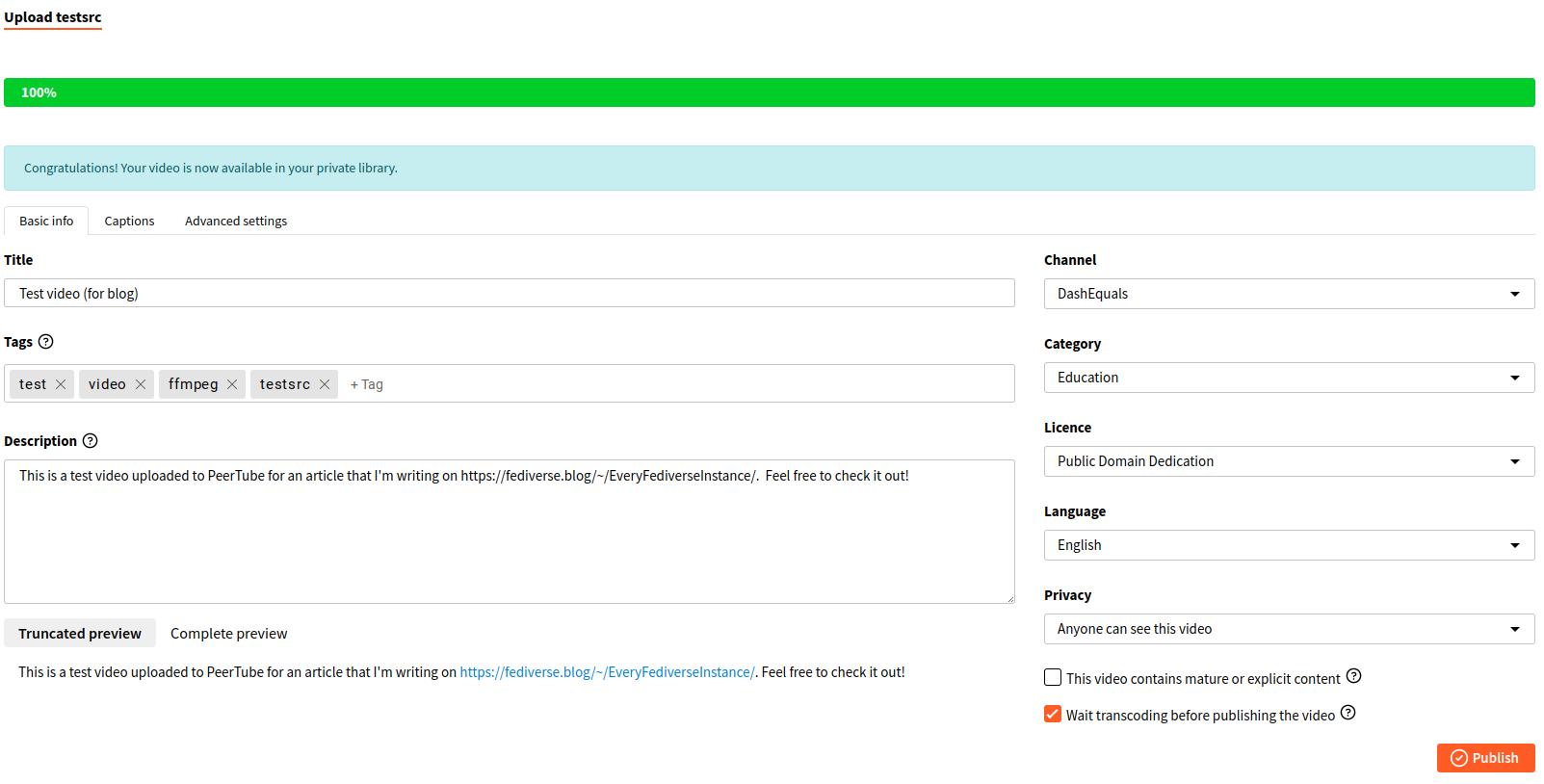 PeerTube video upload screen with metadata filled in