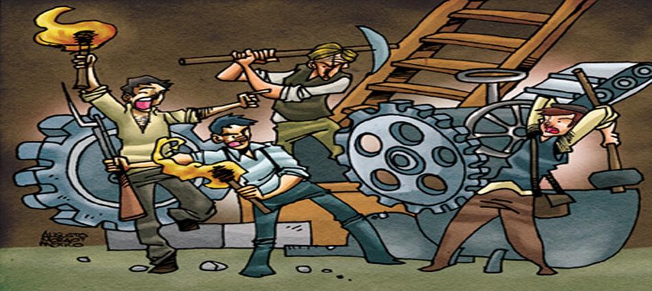 Obreros Ludistas destruyendo maquinaria