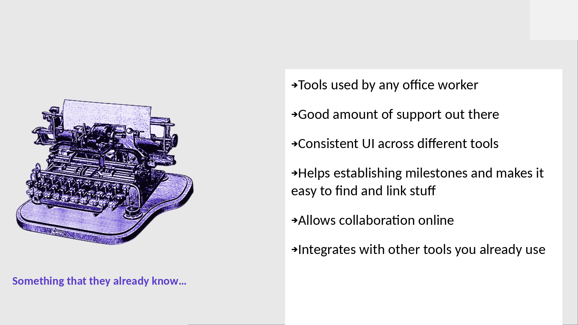LGM2020 slide: the advantages of using a tool, office suite, that everyone knows