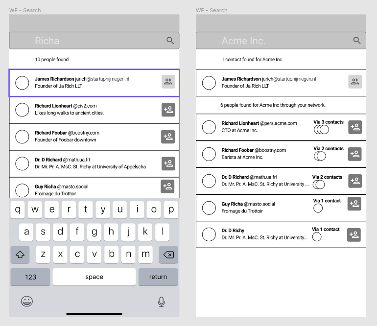 Figma Wireframes showing the search feature
