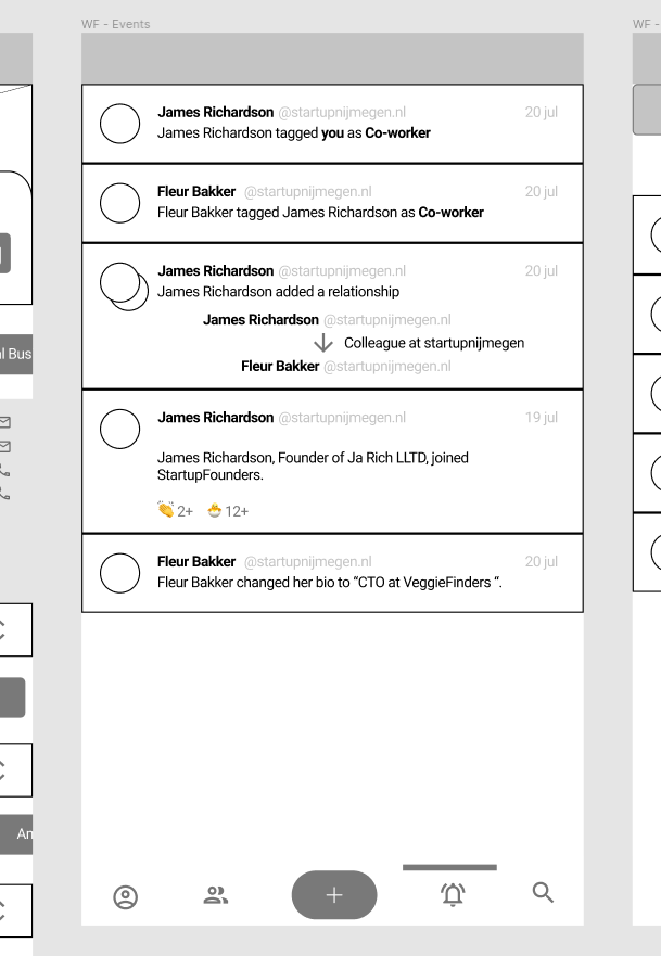 Figma Wireframes showing notifications