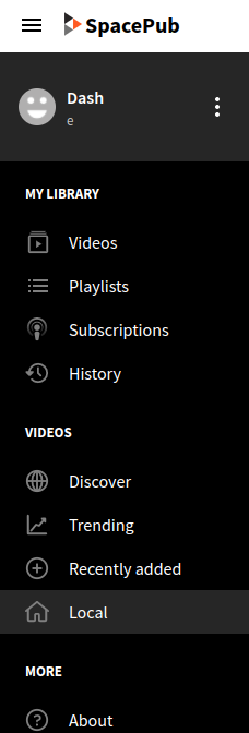 spacepub.space's PeerTube sidebar (when logged in)