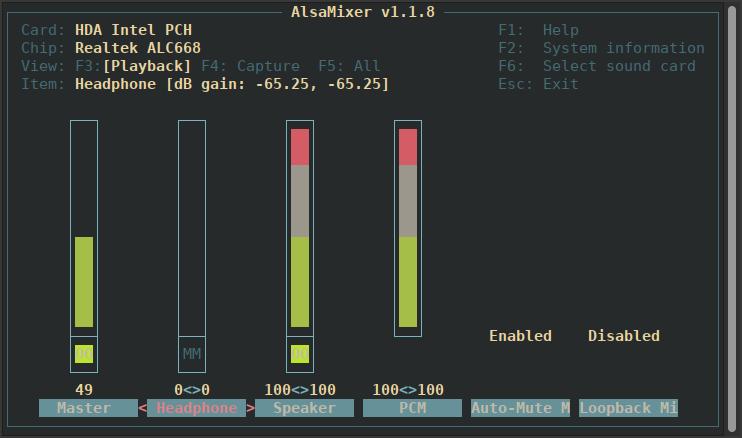 Alsamixer screenshot