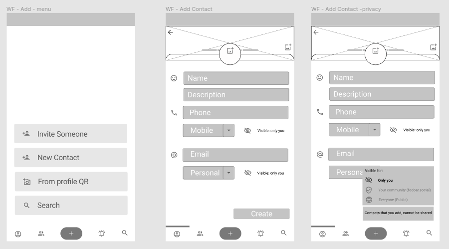 Figma Wireframes showing screens where you add new contact details.