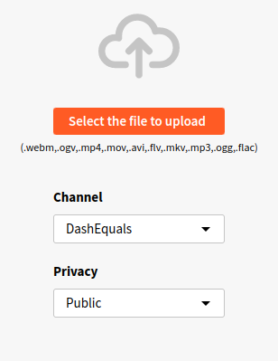 PeerTube upload menu