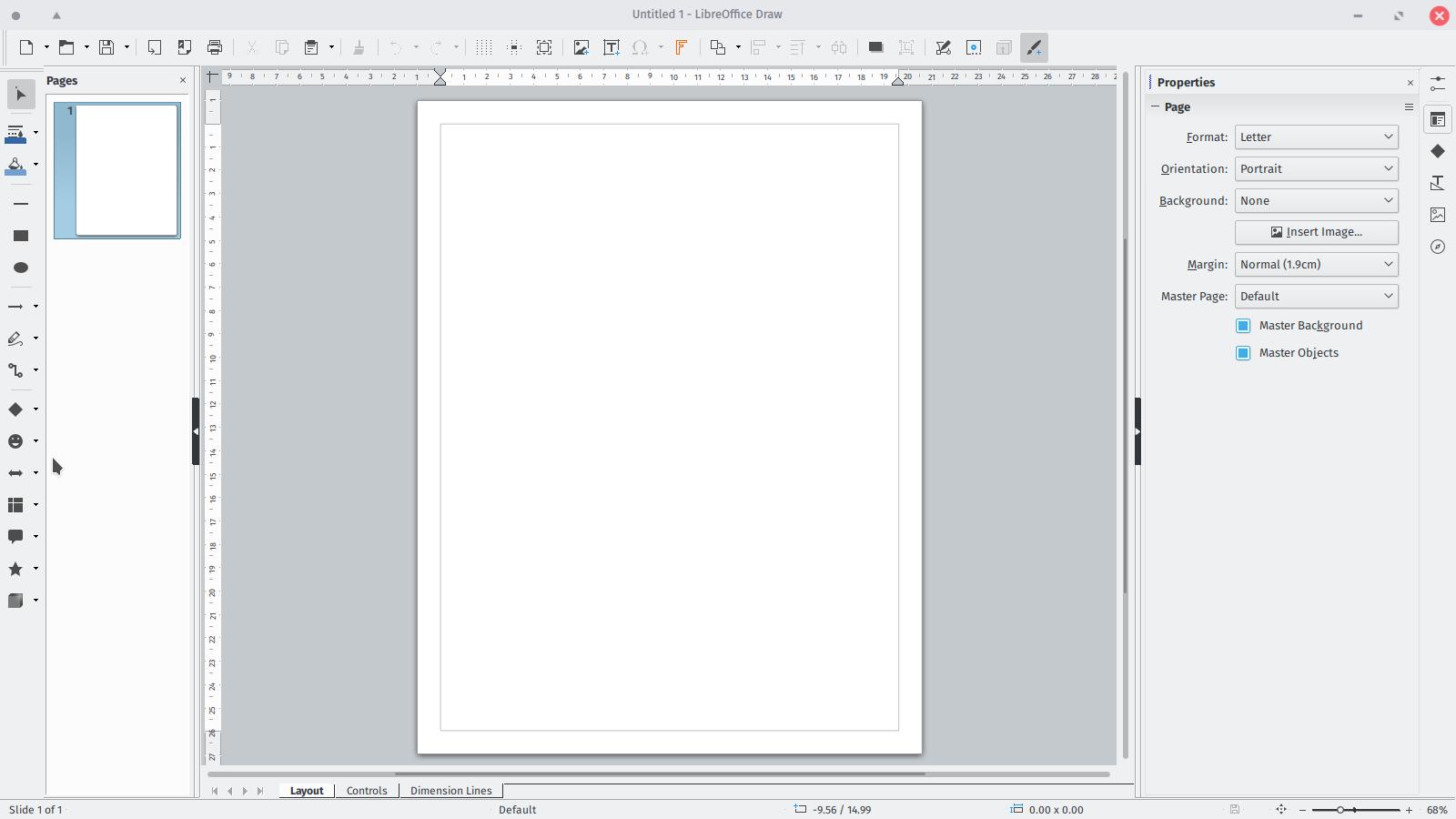Screenshot: LO Draw, default